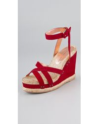 Marc By Marc Jacobs | Red Crisscross Suede Wedge Sandals | Lyst