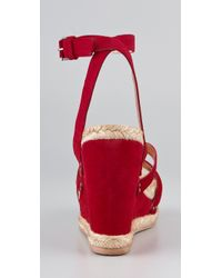 Marc By Marc Jacobs - Red Crisscross Suede Wedge Sandals - Lyst