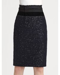 Nina Ricci | Black Waisted Wool and Sequin Pencil Skirt | Lyst