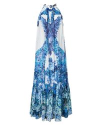 Roberto Cavalli | Blue White and Peacock Printed Maxi Dress | Lyst