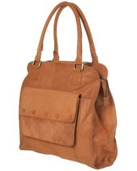 TOPSHOP | Brown Light Tan Leather Pocket Tote | Lyst