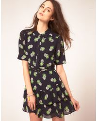 Whistles | Black Beatrice Pineapple Print Dress | Lyst