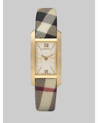Burberry | Metallic Rectangular Fabric Strap Watch | Lyst