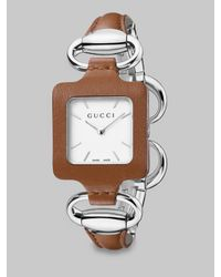 Gucci | Metallic Stainless Steel & Leather Bangle Watch | Lyst