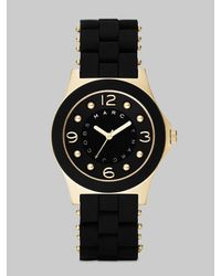 Marc By Marc Jacobs | Black Pelly Goldtone Ip Stainless Steel & Silicone Bracelet Watch | Lyst