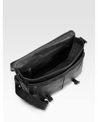 Prada - Black Embossed Leather Messenger Bag for Men - Lyst