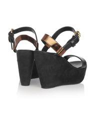 Acne Studios - Brown Estelle Leather and Suede Platform Sandals - Lyst