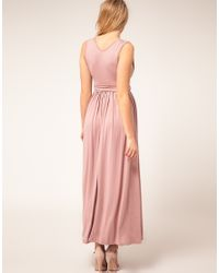 ASOS | Purple Asos Maternity Maxi Dress with Grecian Drape Detail | Lyst