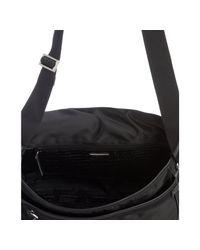 Prada | Black Logo Jacquard Nylon Messenger Bag for Men | Lyst