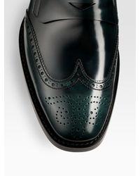 Prada - Black Wingtip Penny Loafers for Men - Lyst