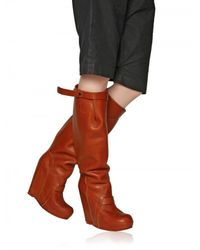 Rick Owens | Brown 140mm Leather Boot Wedges | Lyst