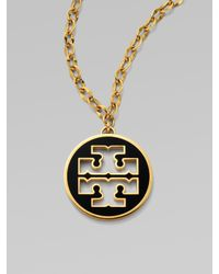 Tory Burch | Black Logo Pendant Necklace | Lyst