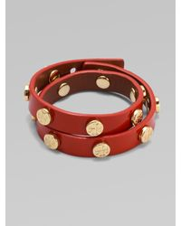 Tory Burch - Red Patent Leather Wrap Bracelet - Lyst