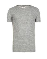 AllSaints | Gray Roots Cut Collar Crew T-shirt for Men | Lyst
