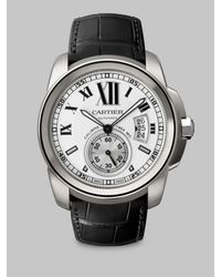 Cartier | Black Calibre De Stainless Steel & Alligator Strap Watch | Lyst