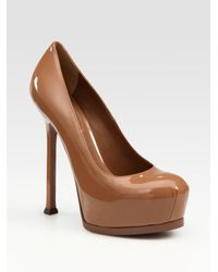 Saint Laurent - Brown Ysl Trib Too Patent Leather Pumps - Lyst