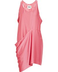 Acne Studios | Pink Magenta Satin Dress with Draping | Lyst