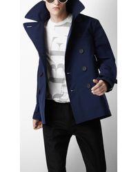 Burberry Sport | Blue Large Lapel Pea Coat for Men | Lyst