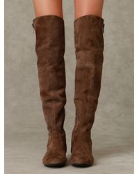 Free People - Gray James Suede Over The Knee Boot with Zipper - Lyst