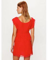 Free People | Red La Boheme Ruffle Dress | Lyst