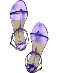 Jimmy Choo | Blue Vernie Flat Leather Lace-up Sandal | Lyst