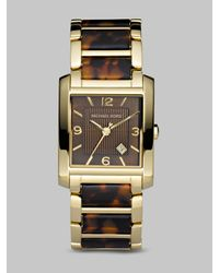 Michael Kors | Brown Tortoise Link Square Watch | Lyst