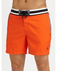 Original Penguin | Orange Volley Swim Trunks/solid for Men | Lyst