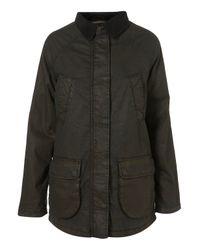 TOPSHOP | Natural Waxed Parka Jacket | Lyst