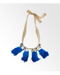 Tory Burch - Blue Feather Tassel Necklace - Lyst