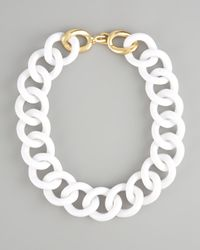 Kenneth Jay Lane | White Chunky Resin-link Necklace | Lyst