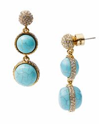 Michael Kors | Blue Turquoise Double Drop Earring with Pave Detail | Lyst