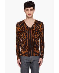 Alexander McQueen | Multicolor Leopard V-neck Sweater for Men | Lyst