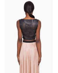 Opening Ceremony - Black Laser Cut Leather Pinafore Top - Lyst