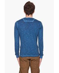 DIESEL - Blue Antic Pocket Henley for Men - Lyst
