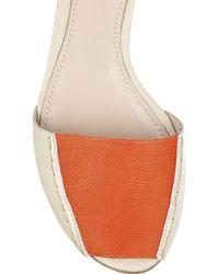 Giambattista Valli - Natural Metal-cuffed Leather and Twill Sandals - Lyst