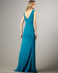 Halston - Blue Deep-v Long Dress - Lyst