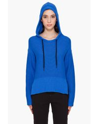 T By Alexander Wang - Blue Hooded Poncho - Lyst
