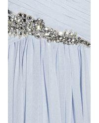 Marchesa - Blue Embellished Silk-chiffon Strapless Gown - Lyst