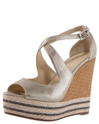 B Brian Atwood | Gold Starlight Espadrille Wedge | Lyst