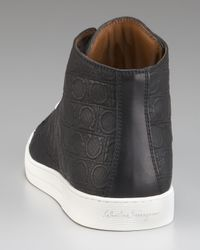 Ferragamo - Black Ok Embossed Hi-top Sneaker for Men - Lyst