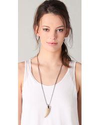 MICHAEL Michael Kors   Metallic Safari Glam Long Tooth Pendant Necklace   Lyst