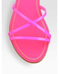 Miu Miu - Pink Patent Leather Criss-cross Sandals - Lyst