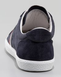 Moncler - Blue Navy Nylon and Suede Monaco Sneakers for Men - Lyst