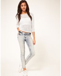 River Island | Blue River Island Bleached Skinny Jean | Lyst