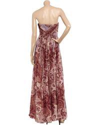 Tibi | Red Swirl Paisley Printed Silkchiffon Maxi Dress | Lyst