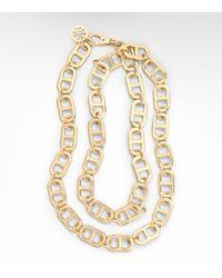 Tory Burch - Metallic Plato Interlocking Chain Necklace - Lyst