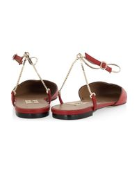 Valentino | Red Chain-strap Scalloped Leather Flats | Lyst