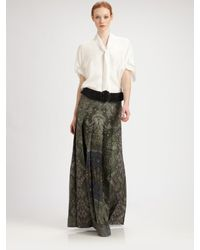 Saint Laurent | Spring 2012 Patterned Maxi Skirt In Dark Green | Lyst