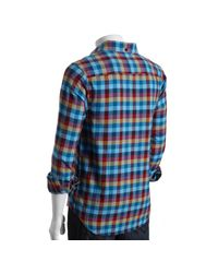 Original Penguin - Blue Bold Plaid Check Long Sleeve Shirt for Men - Lyst