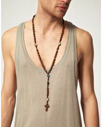 River Island - Brown Jesus Rosary Neckchain for Men - Lyst